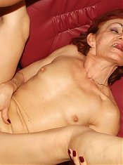 Hot matures Steph And Julianna making out while taking turns cramming their holes with a cock