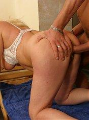 Horny blonde mature fucking and sucking