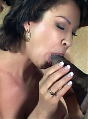 Busty housewife Vanessa Videl takes a break from her chores to get some nookie from a black guy