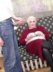 Mature babe Pamela go for a threesome with her two handsome studs and gives them a taste of her juicy pussy