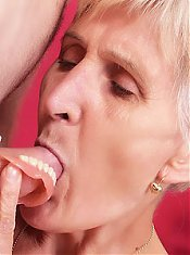 Wrinkled GILF Irene takes a mean pounding then smears fresh cum across her cheeks